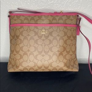 Coach crossbody brown and pink